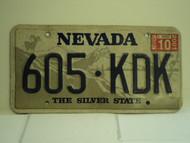 2001 NEVADA Silver State License Plate 605 KDK