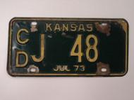 1973 KANSAS License Plate CD J 48