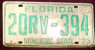 1973 Florida 20RV-394 St. Johns License Plate