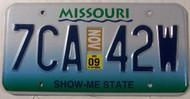 November 2009 Missouri License Plate 7CA-42W