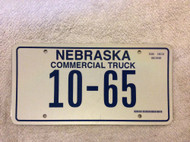 Nebraska Commercial Truck 10-65 License Plate