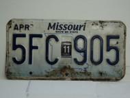 2011 MISSOURI Blue Bird License Plate 5FC 905