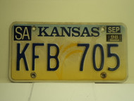 1998 KANSAS Wheat License Plate KFB 705