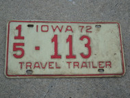 1972 IOWA Travel Trailer License Plate 15 113