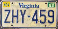 1982 Nov Virginia ZHY-459 License Plate