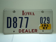 2007 IOWA Dealer License Plate  D877 029