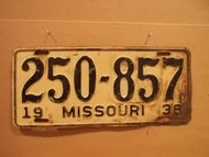 1938 Missouri 250 857 license plate DMV clear
