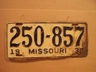 1938 Missouri 250 857 license plate DMV clear