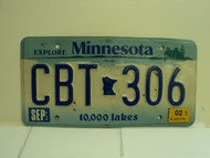 2002 MINNESOTA Explore 10,000 Lakes License Plate CBT 306