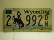 1998 Wyoming License Plate 2 992 DN
