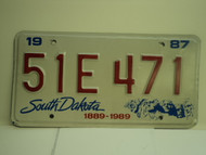 1987 SOUTH DAKOTA Centennial 1889 1989 License Plate 51E 471