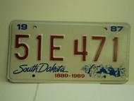 1987 SOUTH DAKOTA Centennial 1889 1989 License Plate 51E 471