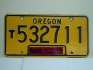 2013 OREGON Truck License Plate T532711 1