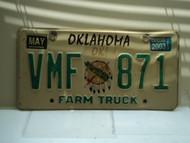 2003 OKLAHOMA Farm Truck License Plate VMF 871