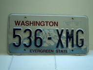 Washington Evergreen State License Plate 536 XMG