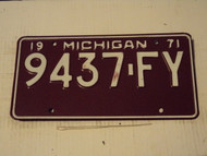 1971 MICHIGAN License Plate 9437-FY
