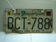 1997 NEW HAMPSHIRE Live Free or Die License Plate BCT 788