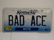 2011 KENTUCKY Unbridled Spirit VANITY License Plate BAD ACE