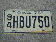 1975 IOWA License Plate 94 HBU750