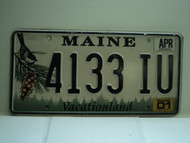 2001 MAINE Vacationland License Plate 4133 IU