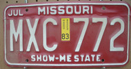 1983 Jul Missouri MXC-772 License Plate DMV Clear YOM