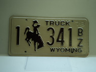 1978 Wyoming Truck License Plate 1 341 BZ