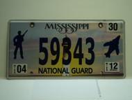 2012 MISSISSIPPI NATIONAL GAURD License Plate 59343