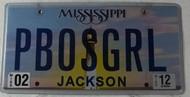 2012 Feb Mississippi Vanity License Plate PBOSGRL