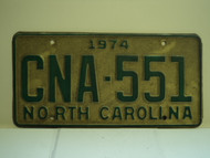 1974 NORTH CAROLINA License Plate CNA 551