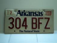 1998 ARKANSAS Natural State License Plate 304 BFZ