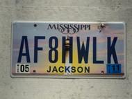 2011 MISSISSIPI Vanity License Plate AF8HWLK