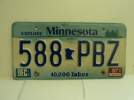 1997 MINNESOTA Explore 10,000 Lakes License Plate 588 PBZ
