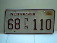 2002 NEBRASKA Dealer License Plate 68 DLR 110