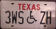 Texas 3WSZH Wheelchair Handicapped License Plate