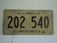 1967 ILLINOIS Land of Lincoln License Plate 202 540 1