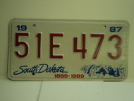 1987 SOUTH DAKOTA Centennial 1889 1989 License Plate 51E 473