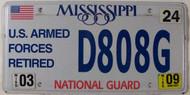 2009 Mar Mississippi National Guard License Plate