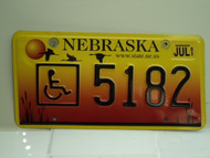 NEBRASKA Handicapped License Plate 5182
