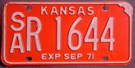 1971 Saline Co Kansas SA R 1644 License Plate