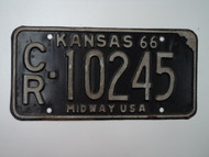 1966 KANSAS Midway USA License Plate CR 10245