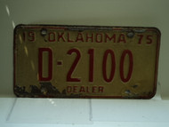 1975 OKLAHOMA Dealer License Plate D 2100