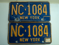 PAIR 1972 NEW YORK License Plates NC 1084