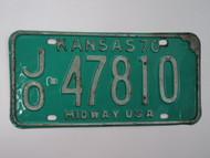 1970 KANSAS Midway USA License Plate JO 47810