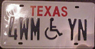 Texas 4WMYN Wheelchair Handicapped License Plate