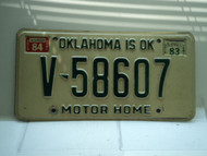 1983 1984 OKLAHOMA is OK Motor Home License Plate V 58607