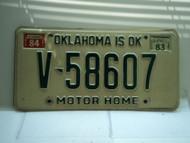 1983 1984 OKLAHOMA is OK Motor Home License Plate V 58607