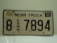 2004 NEBRASKA Commercial Truck License Plate 8 7894
