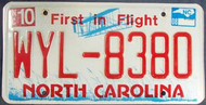 2008 Oct North Carolina License Plate WYL-8380