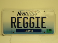 2012 KENTUCKY Unbridled Spirit VANITY License Plate REGGIE