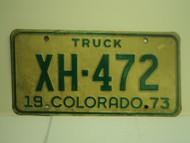 1973 COLORADO Truck License Plate XH 472